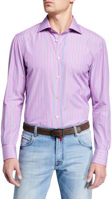 Kiton Men's Multi Stripe Dress Shirt