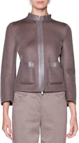 Giorgio Armani Leather-Trim Mesh Jacket