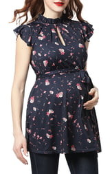 Kimi and Kai Camellia Floral Flutter Sleeve Belted Maternity Top