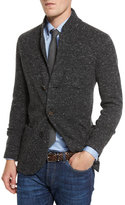 Brunello Cucinelli Donegal Three-Button Cardigan Jacket, Anthracite