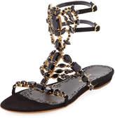 Marchesa Emily Jeweled Flat Sandal
