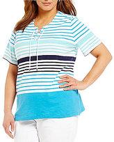 Allison Daley Plus Lace-Up Stripe Print Short Sleeve Knit Top