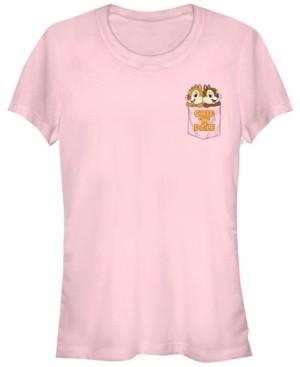 Fifth Sun Women's Chip Dale Chipmunk Pocket Short Sleeve T-shirt