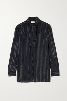 Saint Laurent Tie-neck Striped Metallic Silk-blend Shirt - Navy