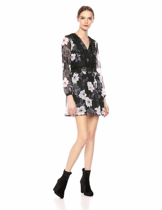 Cupcakes And Cashmere Women's joeline Metallic Printed Dress w/lace Detail
