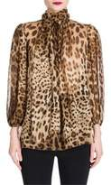 Dolce & Gabbana Leopard Print Chiffon Tie-Neck Blouse