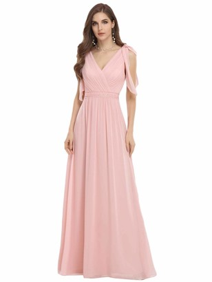 Ever Pretty Ever-Pretty Women Romantic Sleeveless V Neck Empire Waist A-Line Long Chiffon Floor Length Prom Dresses Pink 18UK