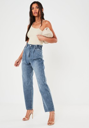 Missguided Blue Mid Wash Denim Gathered Waist Balloon Fit Jeans