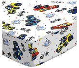 BABYBJÖRN SheetWorld Fitted Sheet (Fits Travel Crib Light) - Fun Race Cars - Made In USA - 24 inches x 42 inches (61 cm x 106.7 cm)