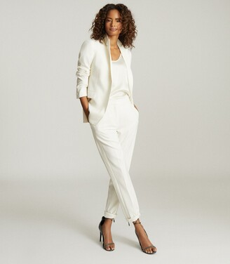Reiss Leigh - Wool Blend Tuxedo Trousers in White