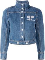 Courreges embroidered logo denim jacket - women - Cotton - 36