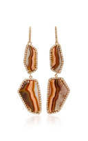 Kimberly McDonald Double Agate and Diamond Lever Back Earrings