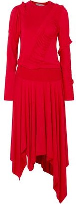 Preen Line Estella Asymmetric Shirred Stretch-cotton Jersey Midi Dress