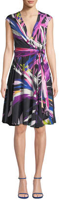 Josie Natori Prism V-Neck Abstract-Print A-Line Dress w/ Knot Detail