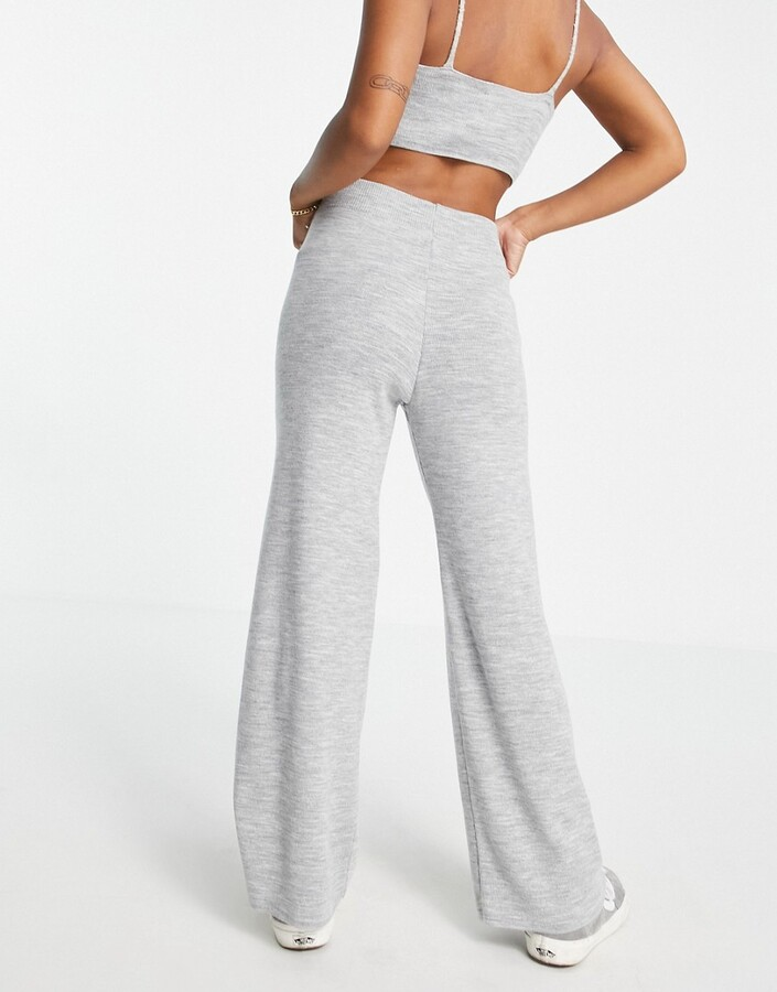 Thumbnail for your product : ASOS DESIGN Petite co-ord knitted wide leg trouser in grey