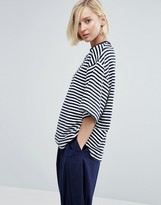 Asos Stripe Oversize T-Shirt In Towelling
