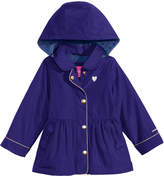 London Fog Hooded Peplum Rain Jacket, Little Girls