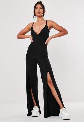 Missguided Black Basic Cami Flare Leg Romper