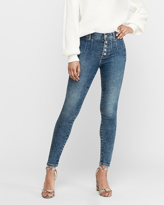 Express High Waisted Button Fly Welt Pocket Jean Ankle Leggings