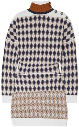 Chloé Button-embellished Argyle Merino Wool-blend Mini Dress