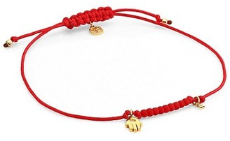 Sydney Evan 14K Goldplated, Hamsa & Diamond Charm Red Cord Bracelet