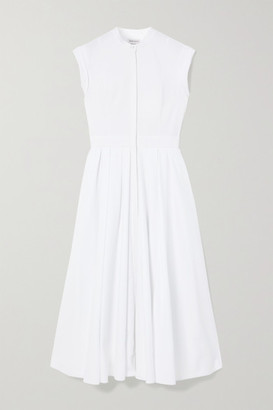 Alexander McQueen Pleated Cotton-pique Midi Dress - White