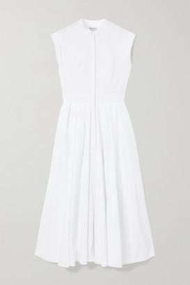 Alexander McQueen Pleated Cotton-pique Midi Dress - White