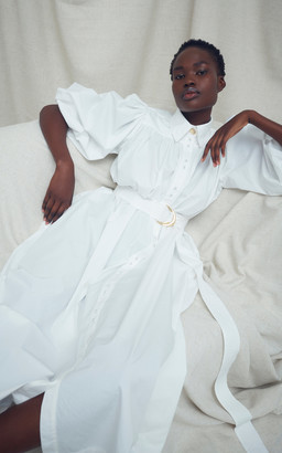 Aje Peace Belted Organic Cotton Shirt Dress