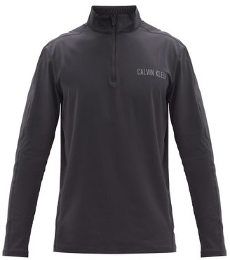 Calvin Klein Logo-print Stretch-jersey Long-sleeve Top - Black