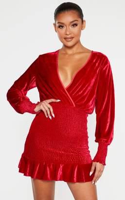 PrettyLittleThing Red Velvet Shirred Wrap Front Bodycon Dress