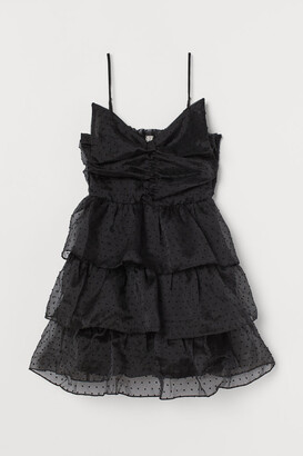 H&M Bow-detail Flounced Dress - Black
