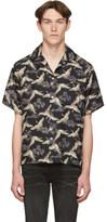 Amiri Black Silk Crane Short Sleeve Shirt