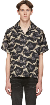 Amiri Black Silk Crane Short Sleeve Shirt