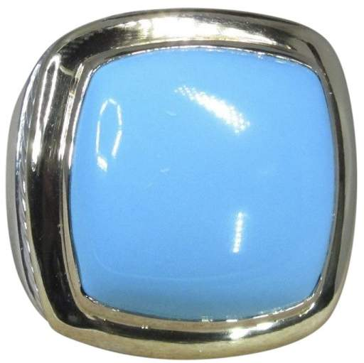 David Yurman 18K Yellow Gold & Sterling Silver Turquoise Ring Size 7