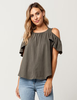 Others Follow Ruffle Womens Cold Shoulder Top
