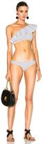 Lisa Marie Fernandez Arden Flounce Bikini in Geometric Print,White.