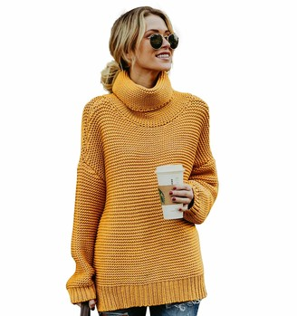 CLOUSPO Sweaters Women Turtleneck Long Sleeve Chunky Women Jumpers Women Pullover (Large