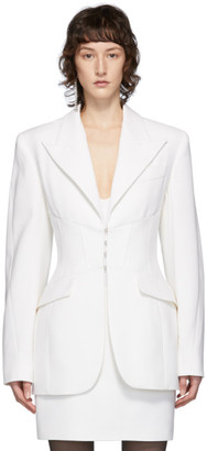 Thierry Mugler White Cinched Hourglass Blazer