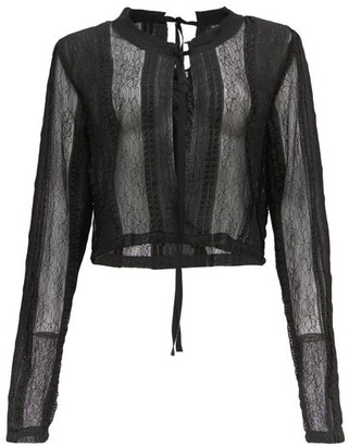 Ann Demeulemeester Lace And Chiffon-panelled Blouse - Black