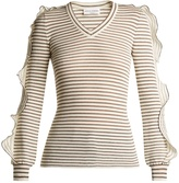 Sonia Rykiel Ruffle-trimmed striped cotton-blend sweater