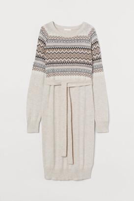 H&M MAMA Jacquard-knit Dress - Beige