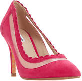 Dune Britania Scallop Court Shoes, Pink Suede