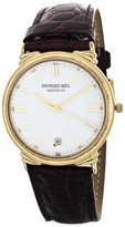 Raymond Weil 5531 Geneve Gold Tone Case White Dial Brown Leather Band Watch
