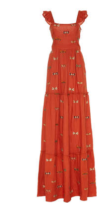 Agua Bendita Agua by Herbarium Embroidered Linen Maxi Dress