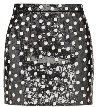 Saint Laurent Sequinned Polka-dot Wool Mini Skirt - Womens - Black White
