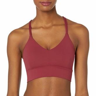 Core 10 Amazon Brand Women's Strappy Longline Plunge Yoga Bralette Sports Bra