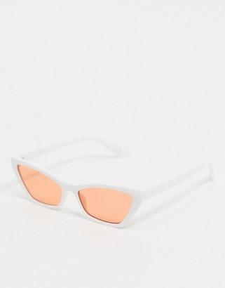 ASOS DESIGN cat eye sunglasses in white with orange lens