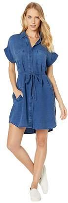 Bella Dahl Cap Sleeve Welt Pocket Shirtdress in Basket Weave Tencera Denim