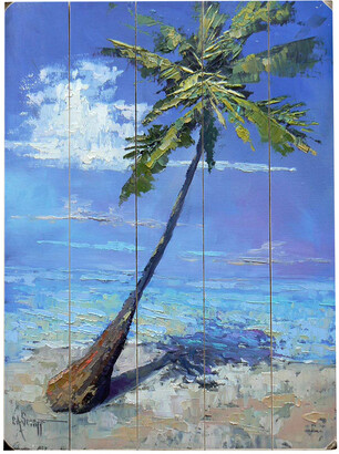 Schiff One Bella Casa Lonely Palm Planked Wood Wall Decor By Carol