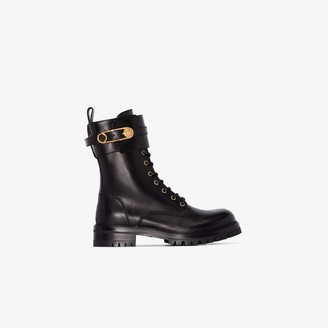 Versace Black Pin Detail Leather Ankle Boots